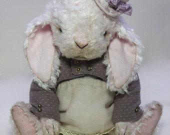 "ooak artist teddy rabbit ""Pinky"""