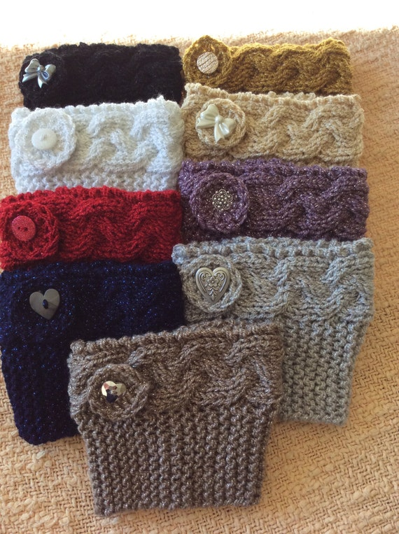 Knitting Patterns Free Boot Cuffs : Metallic Knitted Boot Cuffs with Button Trim