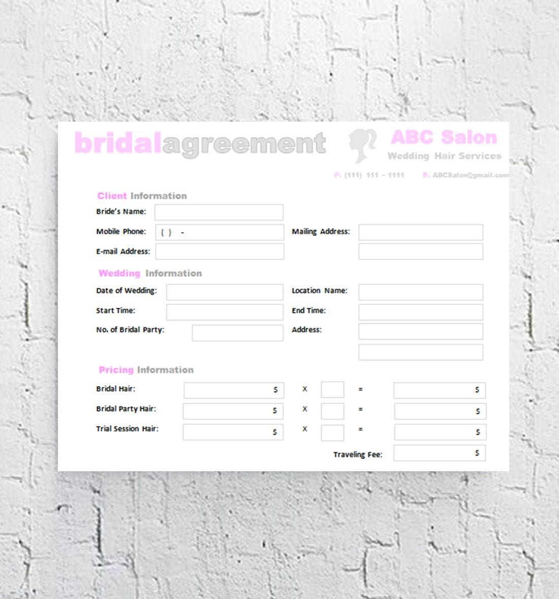 Wedding Hair And Makeup Contract Template