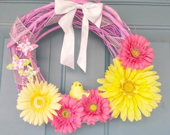 Springtime wreath, spring wreath, flower wreaths, pink flower wreaths, baby chick, summer wreath, summer flower wreath, spring flower wreath