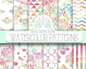 "Watercolor Digital Paper: ""WATERCOLOR PATTERNS"" with watercolor background, rainbow watercolor digital download for cards, seniors"