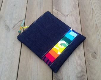 iPad case made from Marimekko fabric, iPad pouch, iPad sleeve, tablet case, padded gadget bag, custom iPad cover, Rainbow colors