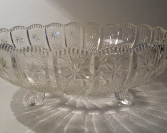 Cut / Pressed Glass Bowl - Early 20th Century  - available for UK & overseas