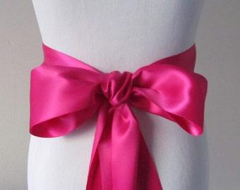 Fuschia Ribbon Sash / Double Faced Ribbon Sash / Bridal Sash / Bridal Ribbon / Fuschia