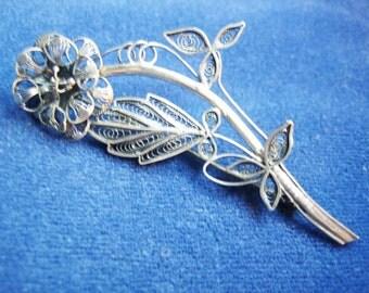 Vtg. 800 Silver Large Filagree Flower Brooch 1940s