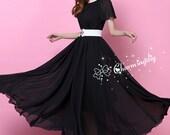 32 Colors Chiffon Black Short Sleeve Long Party Dress Evening Wedding Lightweight Sundress Summer Holiday Beach Bridesmaid Dress Maxi Skirt