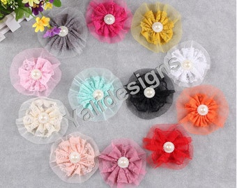 12pcs 10CM 3.9'' inch Wholesale Lace Flower Brooch with Plastic Pearl /Flat Back/ DIY Headband Accessories-Mixed Color-YTA39
