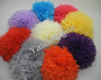 10pcs Wholesale 3.7'' inch Shabby Snowball Puff Flower - Frayed Flower-DIY Headband Accessories- Fabric Flower Mixture Color  YTA28