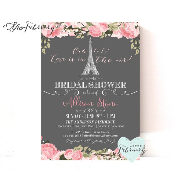 Paris bridal shower invitation blush pink by afterfebruary for Paris themed invitations bridal shower
