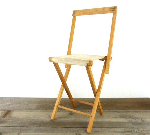 Vintage wood and canvas folding camp chair