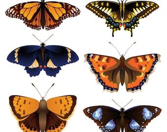 Set of 6 butterflies - Temporary tattoos
