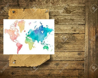 Colorful world map - Temporary Tattoo