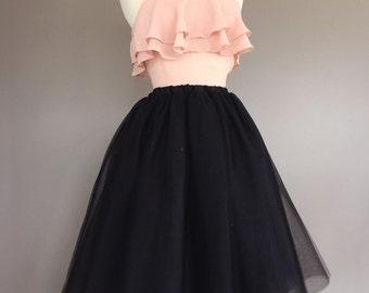 Black tulle skirt, bachelorette tutu skirt, adult tutu, women's tulle skirt