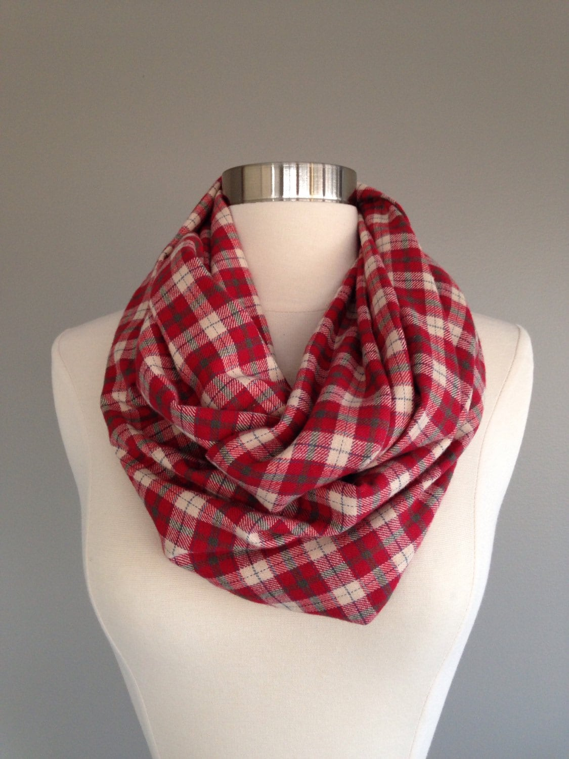 red plaid flannel infinity scarf red and green plaid cream plaid infinity