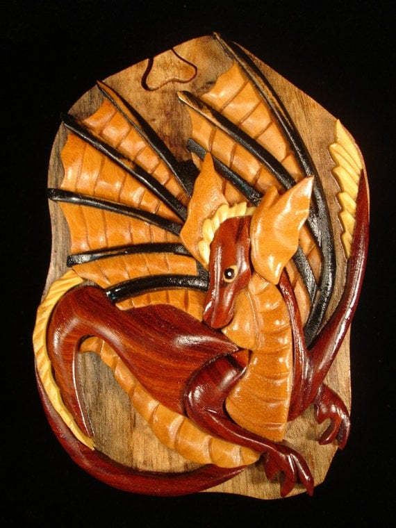 Hand carved wood art intarsia dragon puzzle by myheritageusa