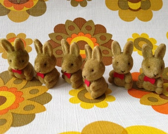 Vintage 1970s 1980s flocked fuzzy miniature bunny rabbit Easter Spring gifts cake decoration small tiny toy printer's letterpress tray find