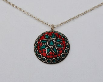 Large round Vintage Pendant Necklace featuring Turquoise and Red Coral gems.