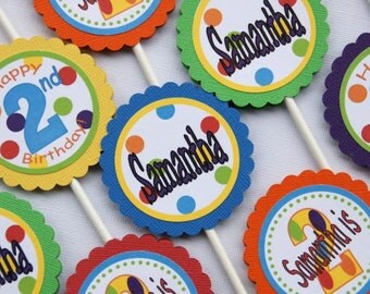 Polka Dot Birthday Cupcake Toppers - Set of 12 Personalized Birthday Party Decorations - Gymboree Colors