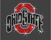 "Rhinestone Transfer ""Ohio State with white outline"" Hotfix , Iron On, Bling"