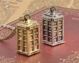 Gold Tardis Necklace