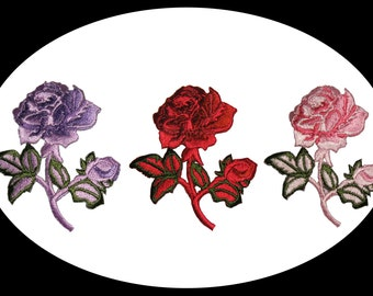 Red, Pink or Lilac Rose Embroidered Patch Floral Embroidery Iron On Applique Flower Scrapbooking Embellishing Decoration Supplies CH6578