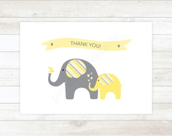 PRINTABLE thank you cards baby shower yellow elephants thank you card - personal use