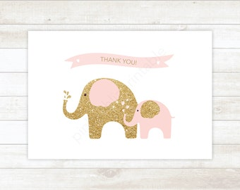 pink and gold glitter printable thank you cards, baby shower pink and gold glitter elephants thank you card - personal use