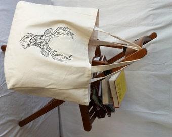 Embroidered Deer Design Canvas Tote Bag