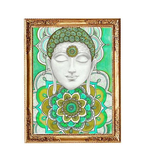 Turquoise Wall Home Decor Buddha Mandala Illustration Large Print Trippy Zentangle Ethnic Art Decor