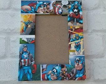 "Captain America Super Hero Comic Book Decoupage Picture Frame 6""x4"" or 7""x5"""