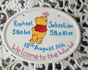 Welcome to the World New Baby Plaque, christening, birth day