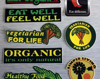 Healthy Living 8 Sticker Combo Pack Small Bumper Stickers