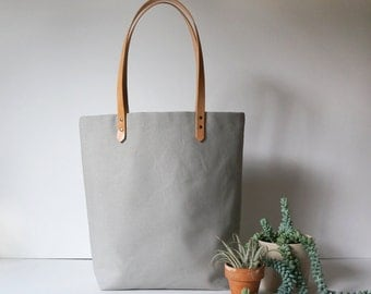 Light Gray Canvas Tote with Leather Straps
