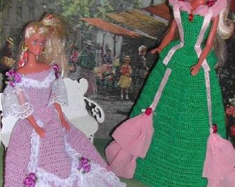 Crochet Fashion Doll Barbie Pattern- #216 CHIFFON & LACE