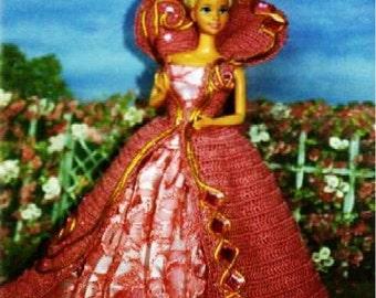 Crochet Fashion Doll Barbie Pattern- #251 OPERA GOWN #2
