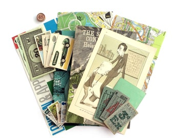 Green ephemera kit: vintage pages, stamps, map pieces, cards, tickets. 20 pieces. Ephemera pack.