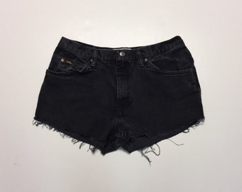 High Waisted Lee Shorts Vintage cut-off Black