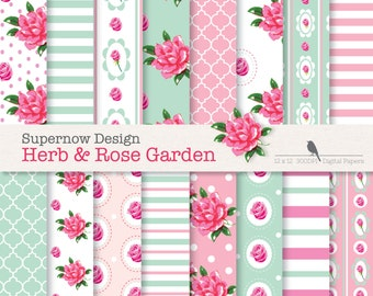 "40% Off Shabby Chic Digital Paper Pack. ""Herb and Rose Garden"" Pink & Mint Paper. Roses. Stripes,Polka Dots,Quatrefoil,"