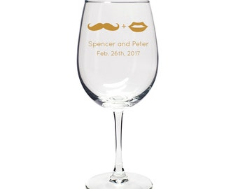 Wedding Favor Wine Goblet Mustache and Lips- Wedding Favors - Personalized Glassware - Custom Wine Goblet