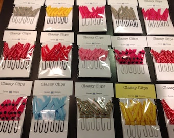 Ribbon Paper Clips. Set of six ribbon paper clips. Classy clips.  Packaged set of six clips