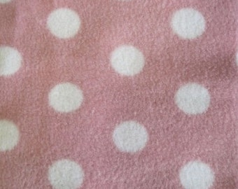 Polar fleece baby pink with white polka dots per metre - FREE shipping