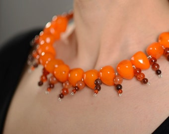 Bridesmaid Gift, Resin Necklace, Girlfriend Gift, Orange Bead Necklace, Big Summer Necklace, Boho Bead Necklace, Chunky Necklace