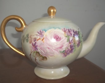 Vintage Hand-painted Teapot - Lavender Roses and Violets - Unmarked