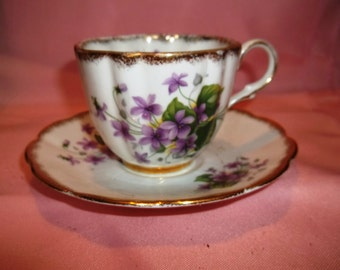 Vintage Clare Bone China Tea Cup & Saucer - Violets