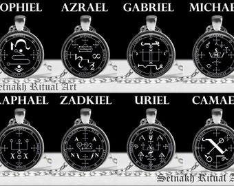 Archangel seal pendant, angel necklace, occult, magic talisman, Michael, Gabriel, Uriel, Zadkiel, Raphael, Camael, Jophiel, Azrael #93