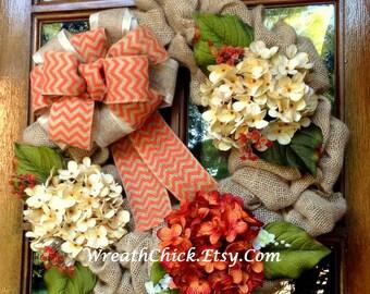 Fall wreath, Burlap wreath, Fall wreath for door, Thanksgiving wreath, Hydrangea wreath, Autumn wreath, Front door wreath, Country wreath