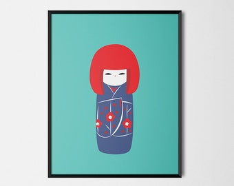 Japanese Kokeshi Print Pop Art Doll Illustration Poster [green]