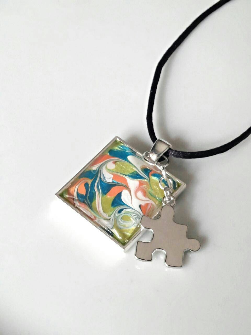 autism necklace autism awareness jewelry puzzle by genevassky