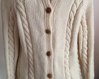 Hand Knitted, Ivory Cabled Sweater Cardigan, Ladies Irish Sweater, Women's Cardigan, Birthday Present, Gift For Her