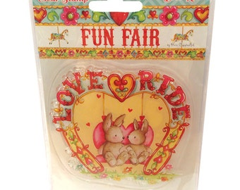 SALE - Clear Stamp Set - Fun Fair Helz Cuppleditch Collection - Love Ride Stamp - Carnival Fairground Rabbits Rubber Stamping